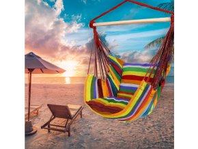 Závěsné houpací křeslo RAINBOW s polštáři 100x100 cm - multicolor