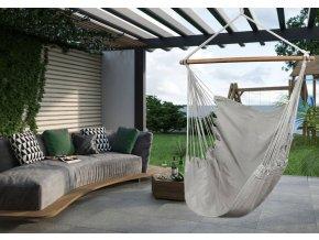 Závěsné houpací křeslo s polštářem 120x80 cm - šedé