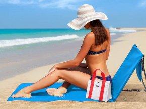 Plážové lehátko podložka s opěradlem - modré
