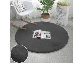 Kulatý kusový koberec RABBIT - Tmavě Šedý - imitace králičí kožešiny