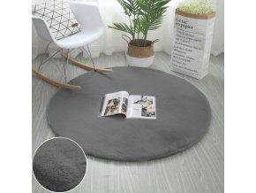 Kulatý kusový koberec RABBIT - Šedý - imitace králičí kožešiny