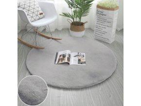 Kulatý kusový koberec RABBIT - Světle Šedý - imitace králičí kožešiny