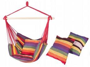 Závěsné houpací křeslo RAINBOW 150 s polštáři 100x130 cm - multicolor