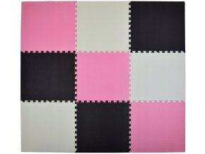 Pěnový koberec MAXI 9 ks 180x180x1 cm růžovo-krémovo-černá