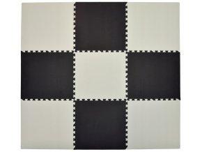 Pěnový koberec MAXI 9 ks 180x180x1 cm bílo-černá