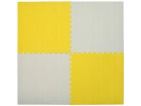 Pěnový koberec MAXI 4 ks 124x124x1 cm žluto-bílá