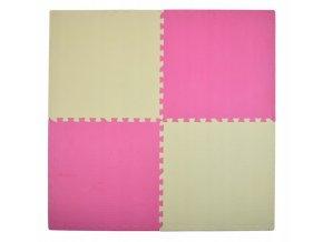 Pěnový koberec MAXI 4 ks 124x124x1 cmkrémovo-růžová
