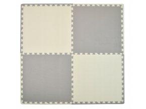 Pěnový koberec MAXI 4 ks 124x124x1 cm krémovo-šedá