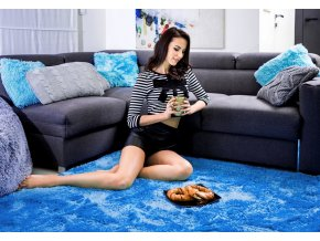 Plyšový koberec - Modrý