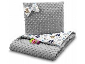 Dětská deka s polštářem do kočárku MINKY, vzor 736