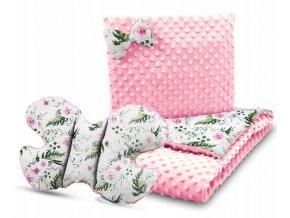 Dětská deka s polštářem do kočárku + polštářek motýlek MINKY, vzor 725