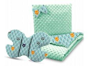 Dětská deka s polštářem do kočárku + polštářek motýlek MINKY, vzor 730