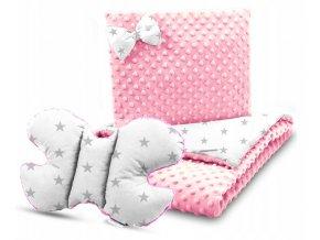 Dětská deka s polštářem do kočárku + polštářek motýlek MINKY, vzor 700