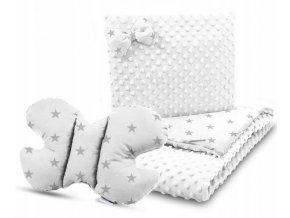 Dětská deka s polštářem do kočárku + polštářek motýlek MINKY, vzor 707