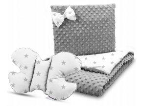 Dětská deka s polštářem do kočárku + polštářek motýlek MINKY, vzor 705