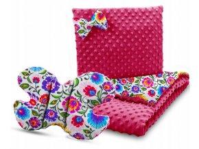 Dětská deka s polštářem do kočárku + polštářek motýlek MINKY, vzor 755