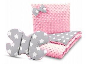 Dětská deka s polštářem do kočárku + polštářek motýlek MINKY, vzor 740