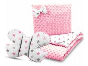 Dětská deka s polštářem do kočárku + polštářek motýlek MINKY, vzor 701