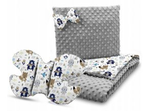 Dětská deka s polštářem do kočárku + polštářek motýlek MINKY, vzor 736