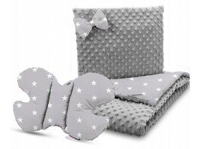 Dětská deka s polštářem do kočárku + polštářek motýlek MINKY, vzor 709