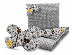 Dětská deka s polštářem do kočárku + polštářek motýlek MINKY, vzor 749