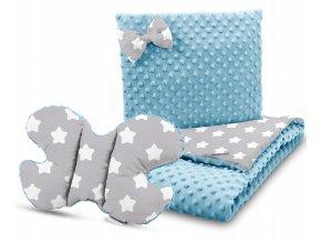Dětská deka s polštářem do kočárku + polštářek motýlek MINKY, vzor 741