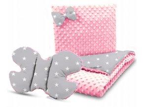 Dětská deka s polštářem do kočárku + polštářek motýlek MINKY, vzor 706