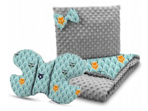 Dětská deka s polštářem do kočárku + polštářek motýlek MINKY, vzor 732
