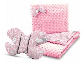 Dětská deka s polštářem do kočárku + polštářek motýlek MINKY, vzor 734