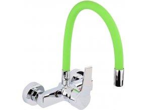 Nástěnná dřezová baterie s flexibilním hrdlem GERBERA zelená/stříbrná