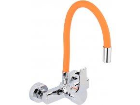 Nástěnná dřezová baterie s flexibilním hrdlem GERBERA oranžová/stříbrná