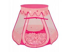 Suchý bazén stan zámek růžový s míčky růžové 100 ks