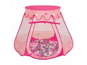Suchý bazén stan zámek růžový s míčky šedo-růžové 100 ks