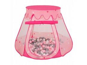 Suchý bazén stan zámek růžový s míčky šedo-světlerůžové 100 ks