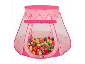 Suchý bazén stan zámek růžový s míčky barevné 100 ks