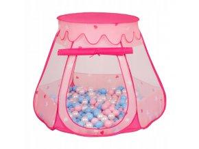Suchý bazén stan zámek růžový s míčky růžovo-modré 100 ks