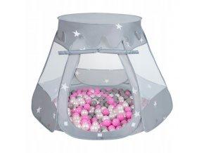 Suchý bazén stan zámek šedý s míčky šedo-růžové 100 ks