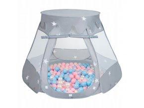 Suchý bazén stan zámek šedý s míčky růžovo-modré 100 ks