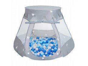 Suchý bazén stan zámek šedý s míčky světlemodré 100 ks