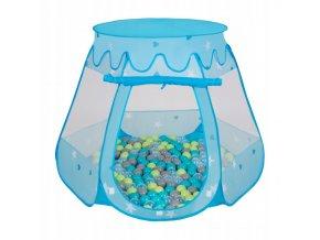 Suchý bazén stan zámek modrý s míčky zelené 100 ks