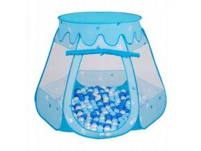 Suchý bazén stan zámek modrý s míčky světlemodré 100 ks