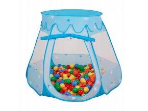 Suchý bazén stan zámek modrý s míčky barevné 100 ks