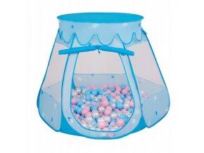 Suchý bazén stan zámek modrý s míčky růžovo-modré 100 ks