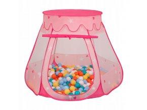 Suchý bazén stan zámek růžový s míčky barevné 2 100 ks