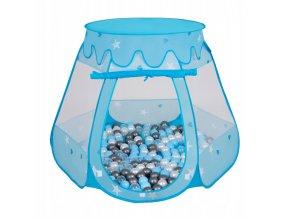 Suchý bazén stan zámek modrý s míčky tmavěšedo-modré 100 ks