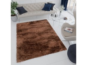 Plyšový koberec BIRD - Hnědý