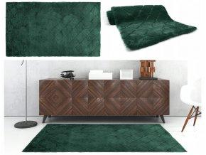 Plyšový koberec RABBIT OSLO DESIGN - Tmavě Zelený - imitace králičí kožešiny