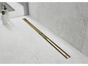 Odtokový sprchový žlab DIVIO MEXEN FLAT ROTARY 360 SLIM zlatý
