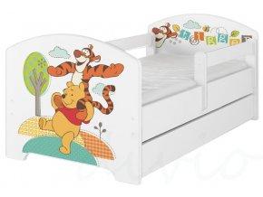 Dětská postel disney medvídek pú a tygřík x bílá 180x80cm