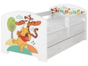 Dětská postel disney medvídek pú a tygřík x norské borovice 180x80cm